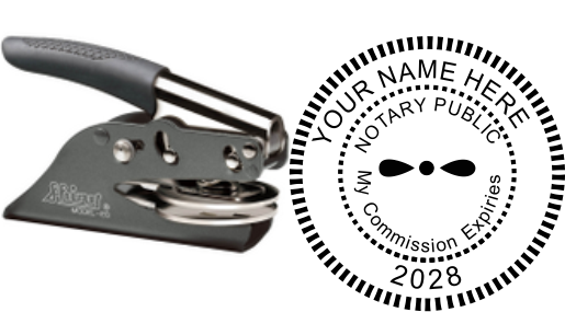 Notary Public 1-5/8 Round embossing seal. Customize this embosser with your own date. My commission expires.